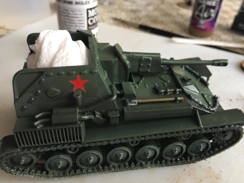 SU-76 with Decals and Chipping Medium applied